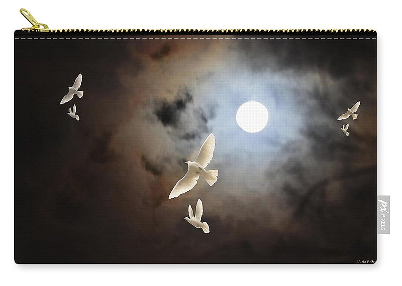 Flying By Moonlight Carry-all Pouch featuring the digital art Flying By Moonlight by Maria Urso