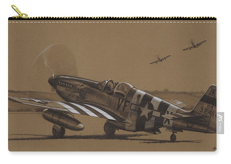 P-51 Mustang Carry-all Pouch featuring the drawing Flying Dutchman by Wade Meyers