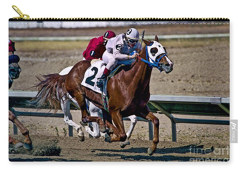 Racing Carry-all Pouch featuring the photograph Flying Hooves by Kathy McClure
