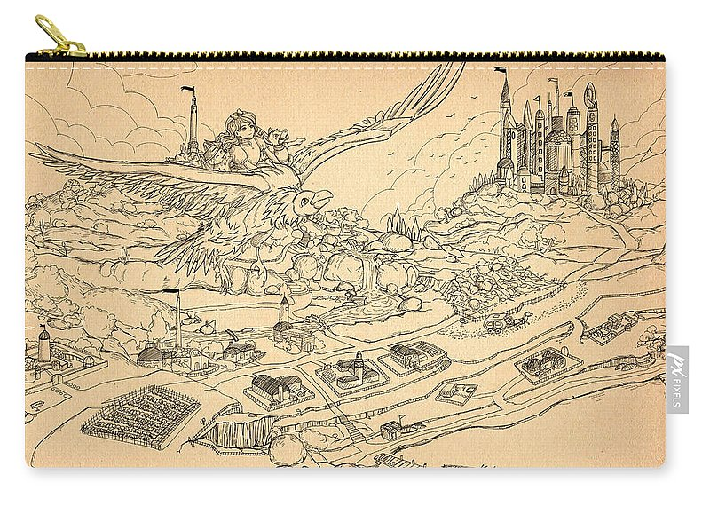 Gold Carry-all Pouch featuring the painting Flying Polly Over Capira by Reynold Jay