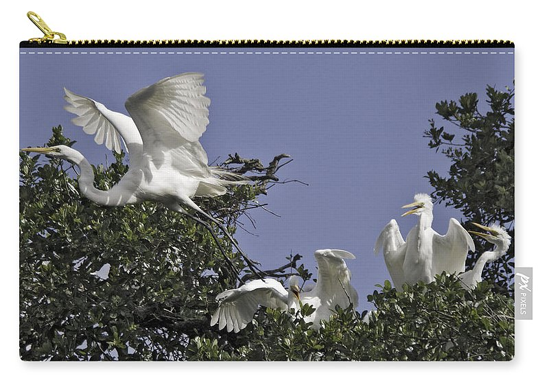 Great Egret Carry-all Pouch featuring the photograph Flying The Coop by James Ekstrom