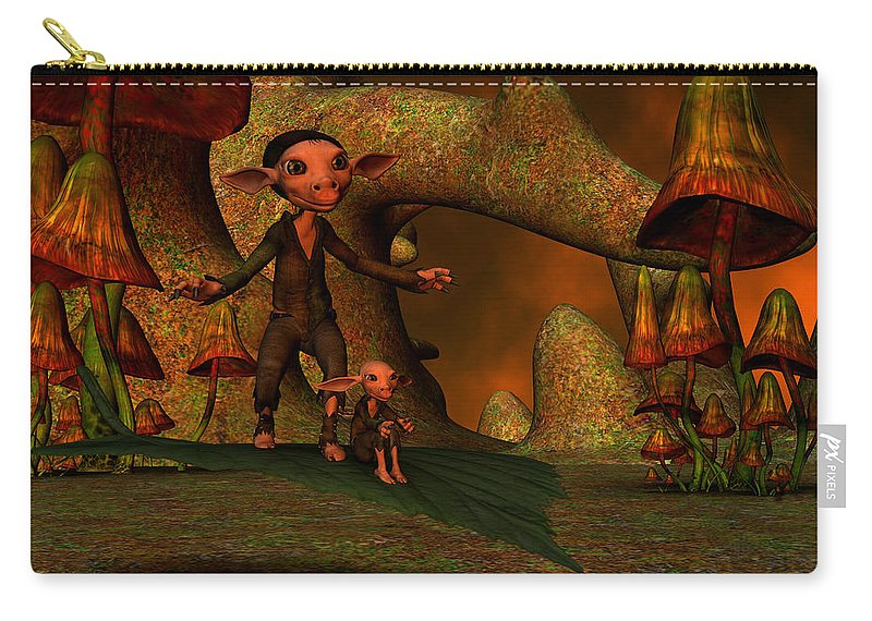 Flying Carry-all Pouch featuring the digital art Flying Through A Wonderland by Gabiw Art