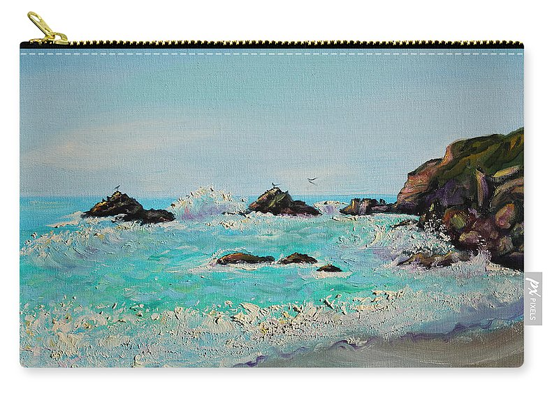 Seascape Painting; Northern California Carry-all Pouch featuring the painting Foamy Ocean Waves And Sandy Shore by Asha Carolyn Young
