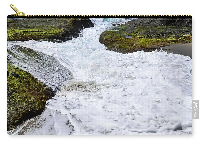 Beach Carry-all Pouch featuring the photograph Foamy Water by Robert VanDerWal