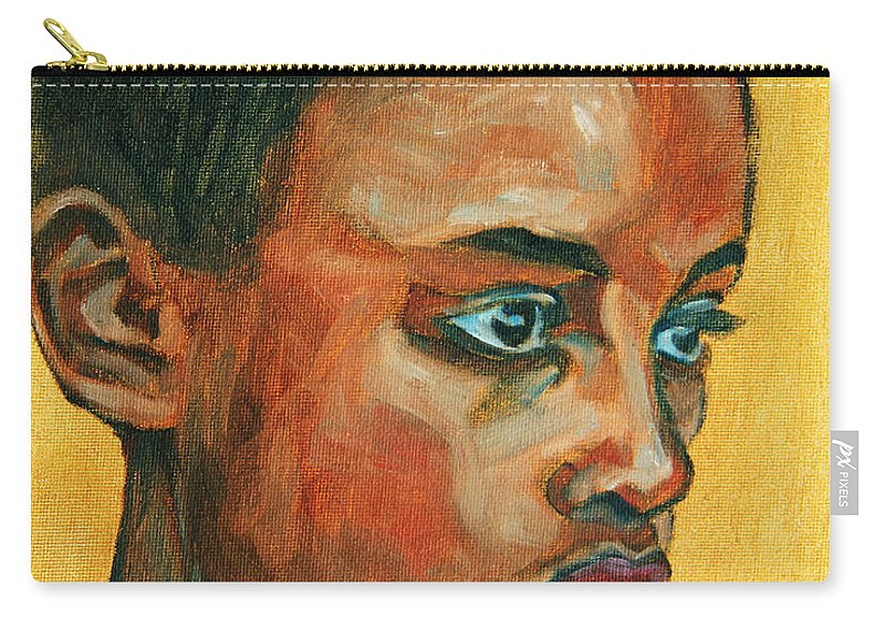 African American Carry-all Pouch featuring the painting Focus by Xueling Zou
