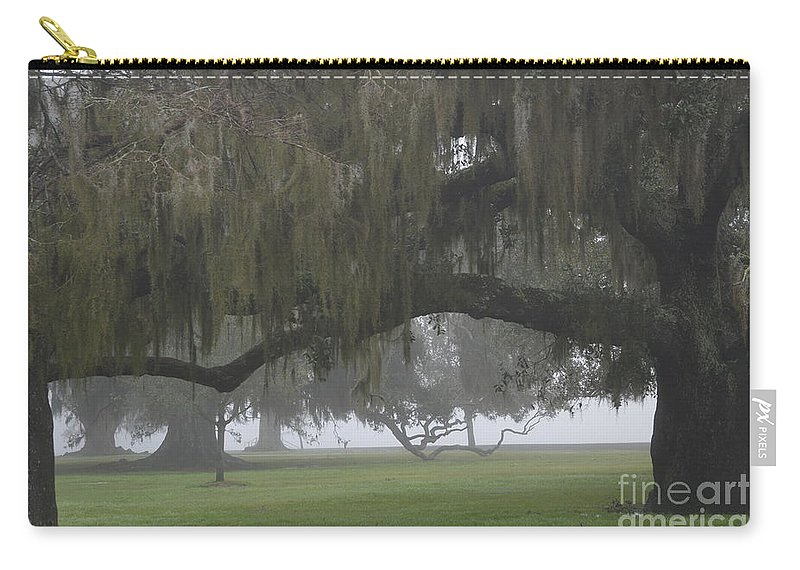 Fog Carry-all Pouch featuring the photograph Fog In Ancient Oaks by Xyldia Grace