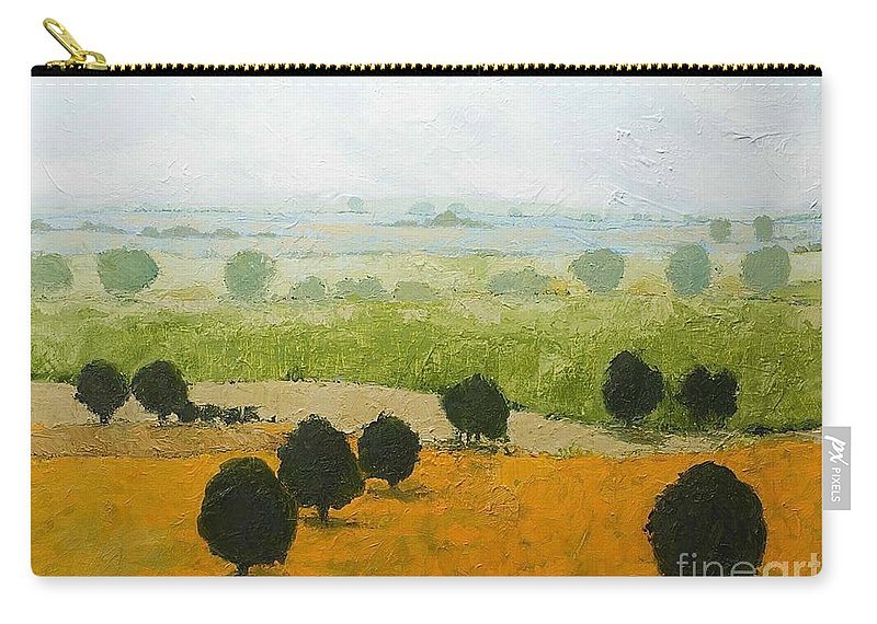 Landscape Carry-all Pouch featuring the painting Fog Lifting Fast by Allan P Friedlander