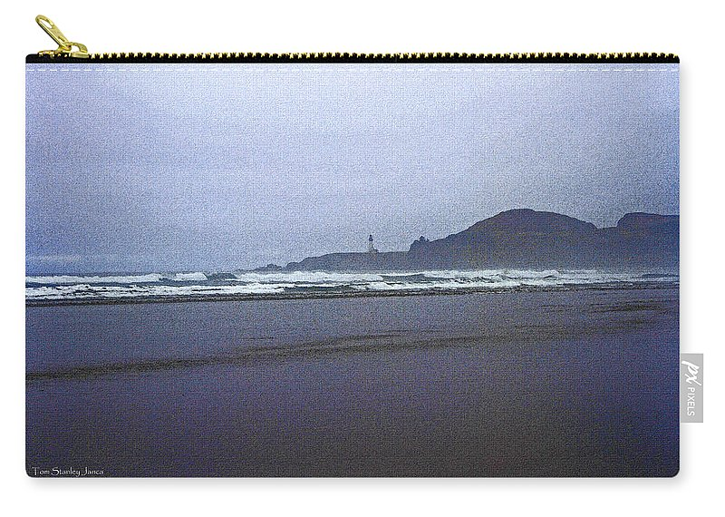 Foggy Beach And Lighthouse Carry-all Pouch featuring the photograph Foggy Beach And Lighthouse by Tom Janca