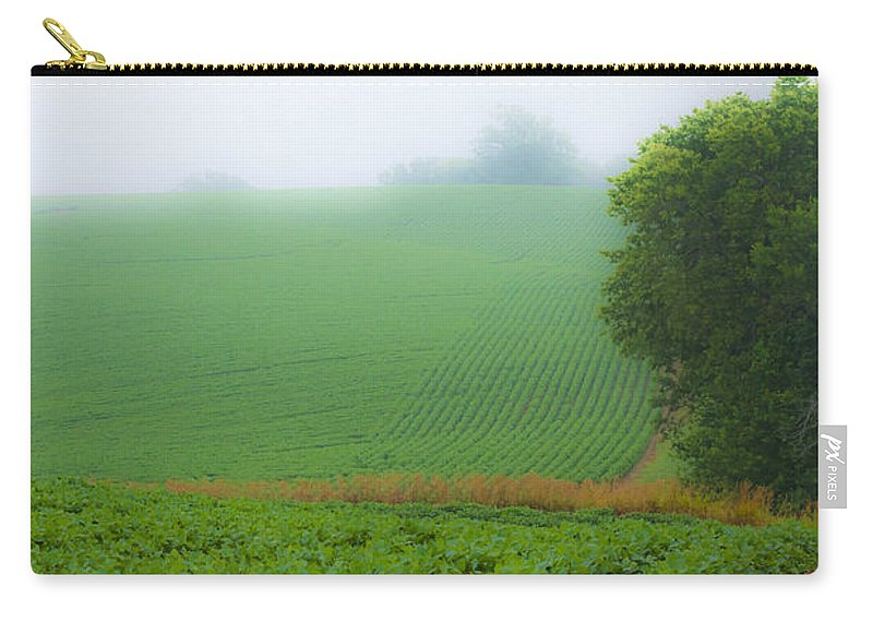 Country Carry-all Pouch featuring the photograph Foggy Bean Field by Edward Peterson