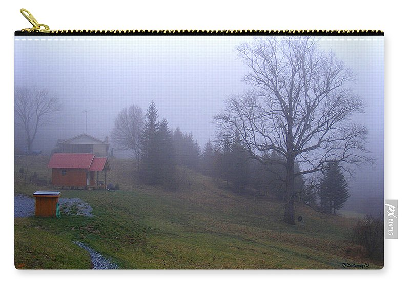 Landscapes Carry-all Pouch featuring the photograph Foggy Cabin And Hillside by Duane McCullough