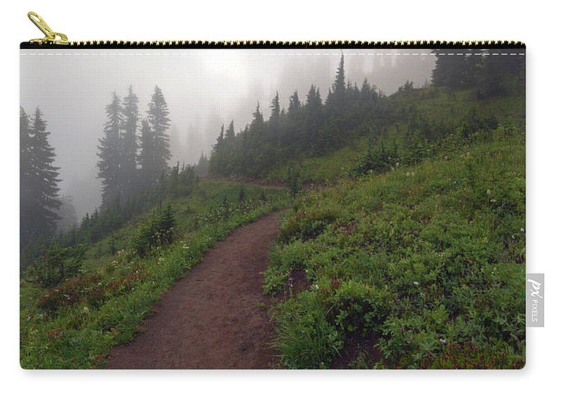 Crest Trail Carry-all Pouch featuring the photograph Foggy Crest Trail by Mike Dawson