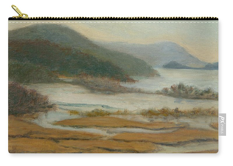 Landscape Painting Carry-all Pouch featuring the painting Foggy Day At Constitution Marsh by Phyllis Tarlow