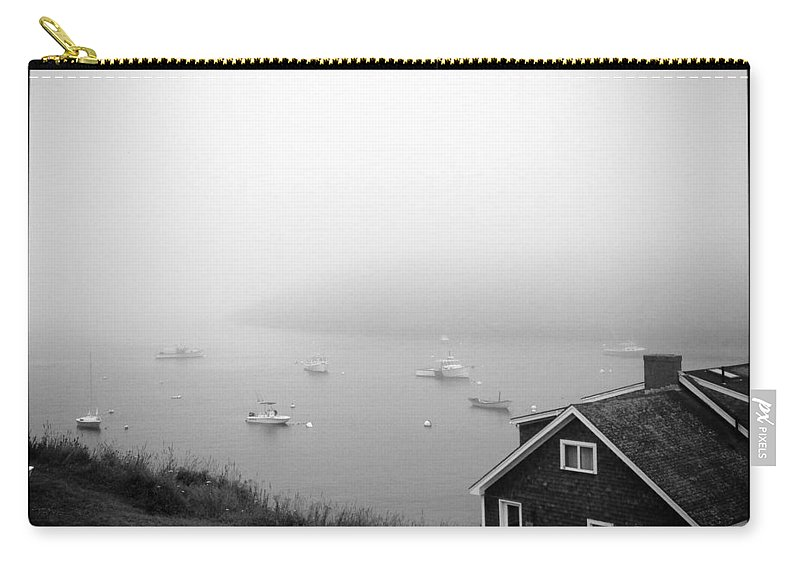 Foggy Carry-all Pouch featuring the photograph Foggy Manana in Black and White by Jean Macaluso