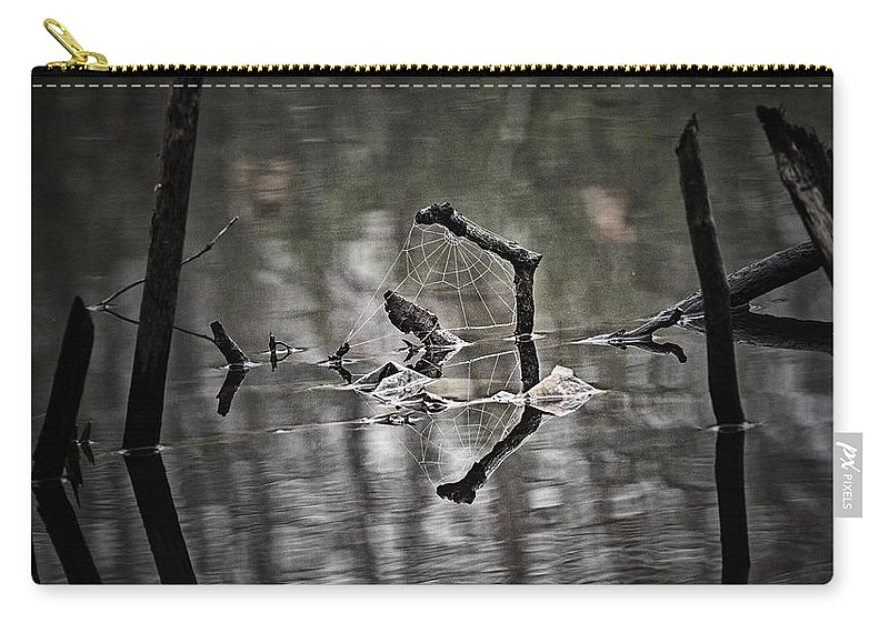 Abstract Carry-all Pouch featuring the photograph Foggy Morning Pondscape by Susan Capuano