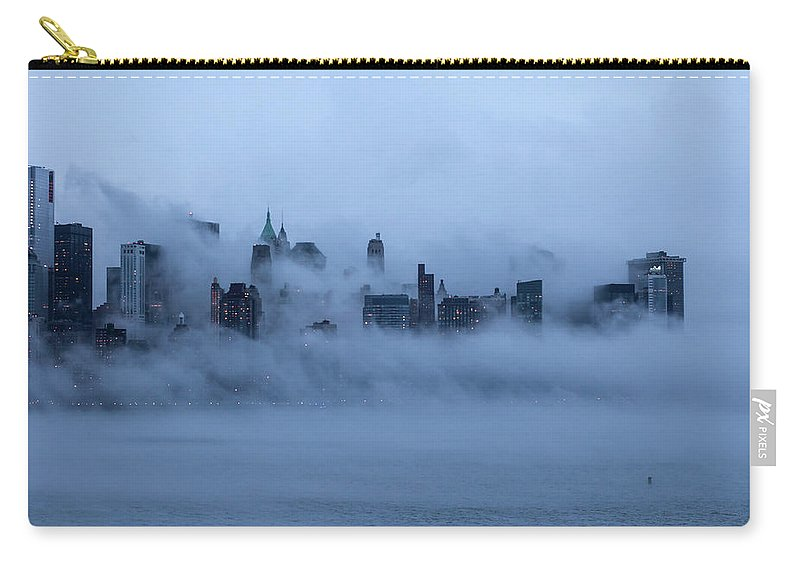 Dawn Carry-all Pouch featuring the photograph Foggy New York City by Laverrue Was Here