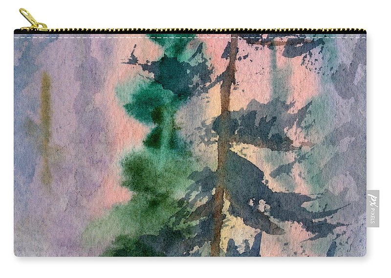 Adventure Carry-all Pouch featuring the painting Foggy Patch by Mohamed Hirji