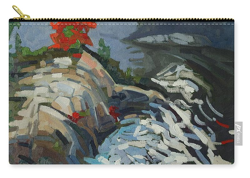 Rapids Carry-all Pouch featuring the painting Foggy Whitefish Rapids by Phil Chadwick