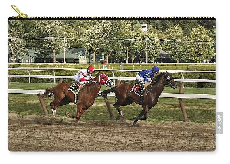 Saratoga Racetrack 2013 Carry-all Pouch featuring the photograph Follow Me To The Finish by Eric Swan