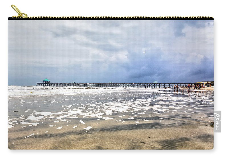 Beach Life Guard Carry-all Pouch featuring the photograph Folly Beach by Sennie Pierson
