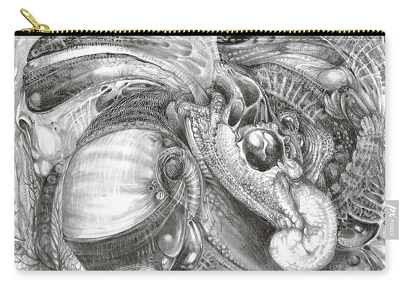 Fomorii Carry-all Pouch featuring the drawing Fomorii Aliens by Otto Rapp