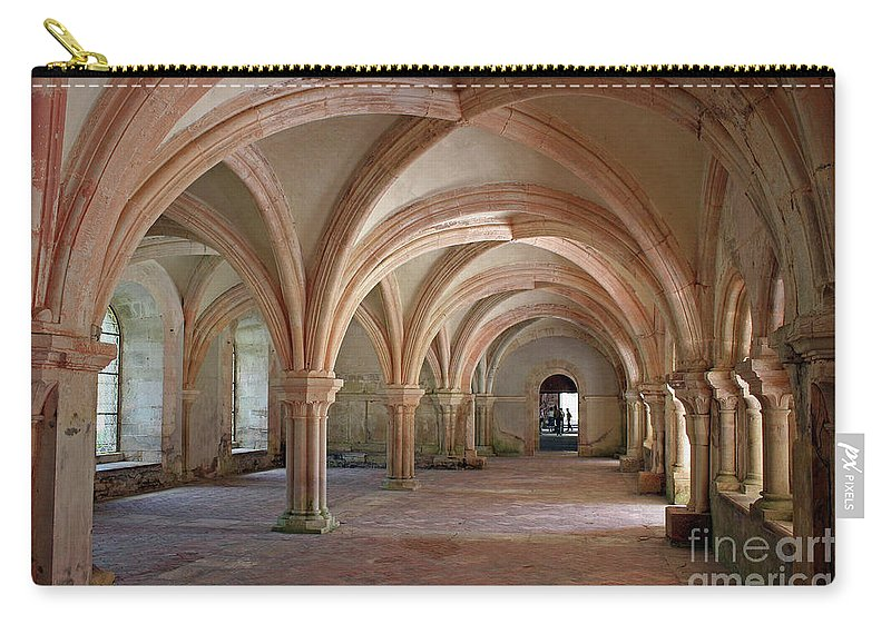 Abbey Carry-all Pouch featuring the photograph Fontenay Abbey Cross Vault by Christiane Schulze Art And Photography