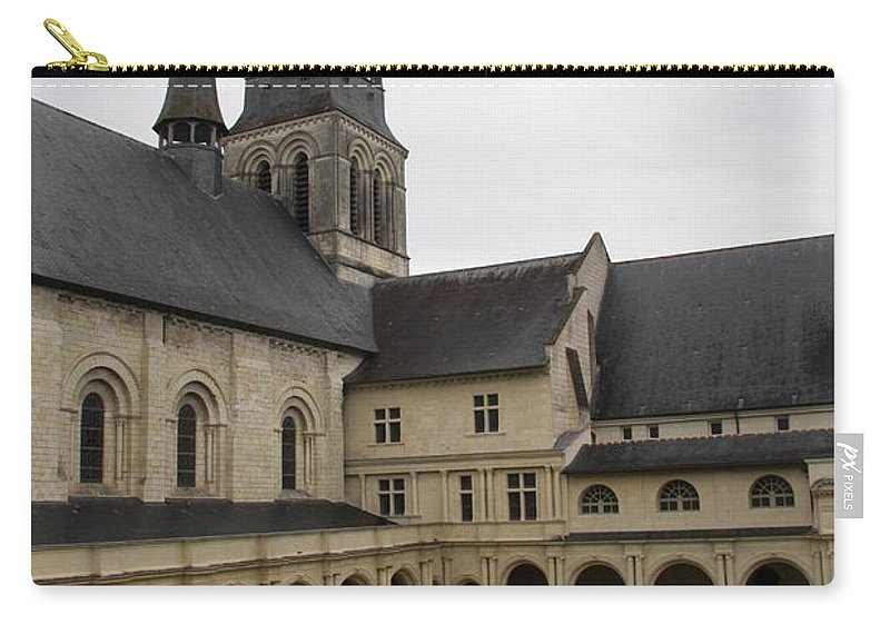 Cloister Carry-all Pouch featuring the photograph Fontevraud Abbey Courtyard - France by Christiane Schulze Art And Photography