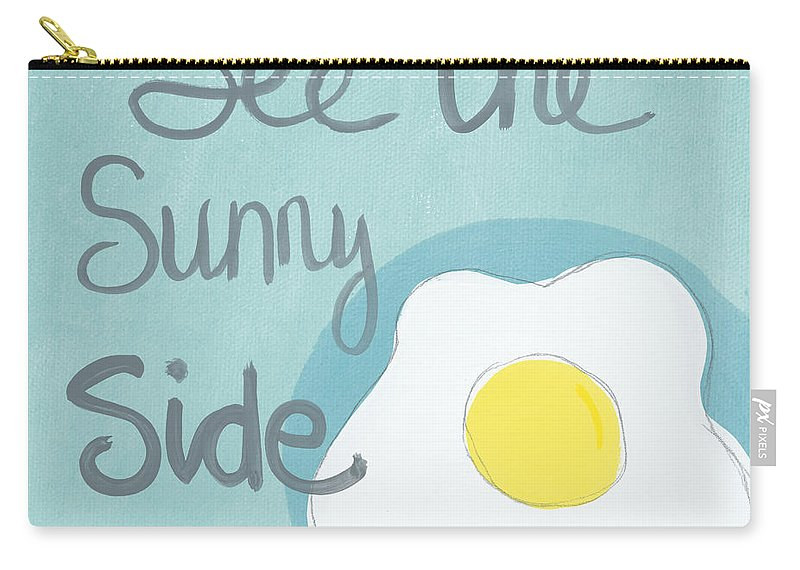 Egg Carry-all Pouch featuring the painting Food- Kitchen Art- Eggs- Sunny Side Up by Linda Woods