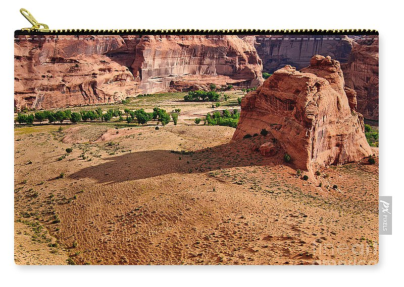 Footprints In The Sand Carry-all Pouch featuring the digital art Footprints In The Sand Canyon Dechelly by Bob and Nadine Johnston