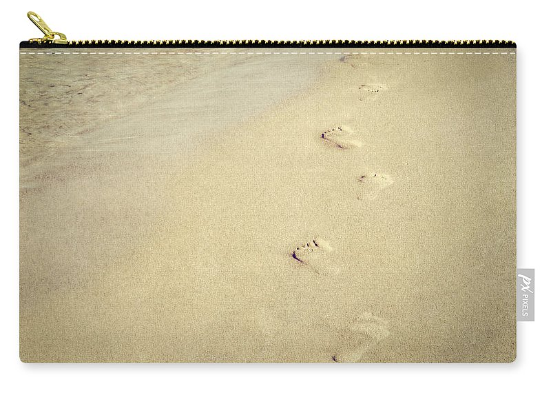 Lake Michigan Carry-all Pouch featuring the photograph Footprints In The Sand by Emily Kay