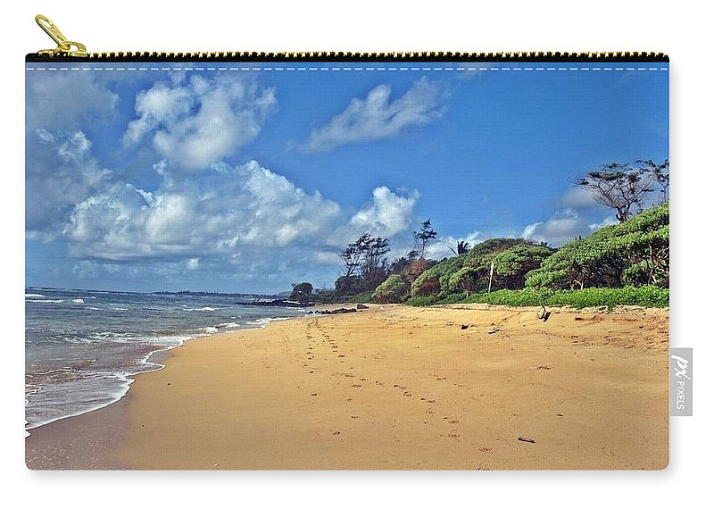 Beach Carry-all Pouch featuring the photograph Footprints In The Sand by Jo Jurkiewicz