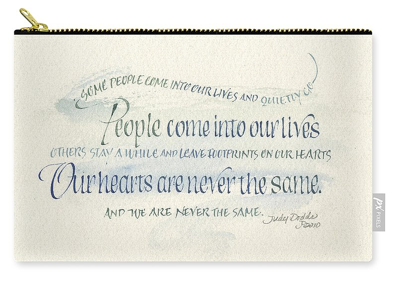 Congratulations Carry-all Pouch featuring the painting Footprints On Our Heart by Judy Dodds