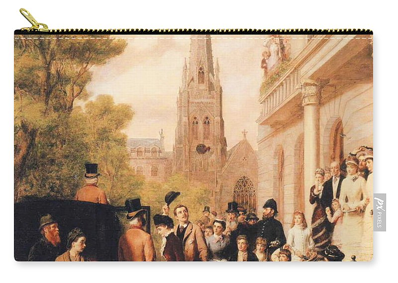 William Powell Frith Carry-all Pouch featuring the digital art For Better For Worse by William Powell Frith