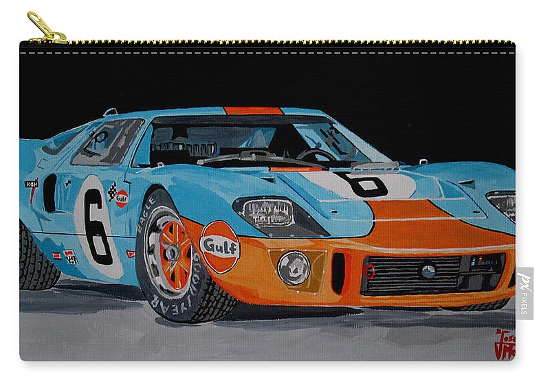 Ford Gt40 Carry-all Pouch featuring the painting Ford Gt40 by Jose Mendez