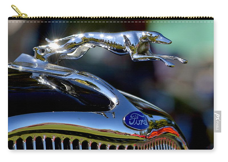 Black Carry-all Pouch featuring the photograph Ford Hood Ornement by Dean Ferreira