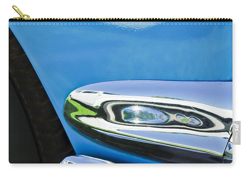 Ford Thunderbird Emblem Carry-all Pouch featuring the photograph Ford Thunderbird Emblem -0505c by Jill Reger