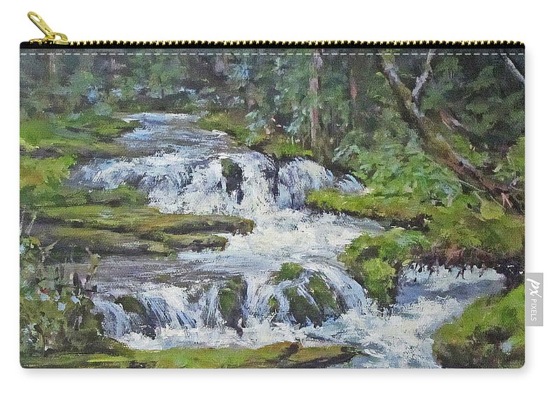 Original Carry-all Pouch featuring the painting Forest Creek by Karen Ilari
