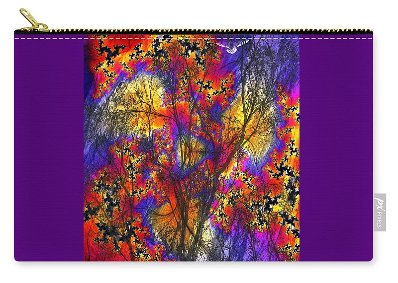 Forest Fire Carry-all Pouch featuring the digital art Forest Fire by Lisa Yount