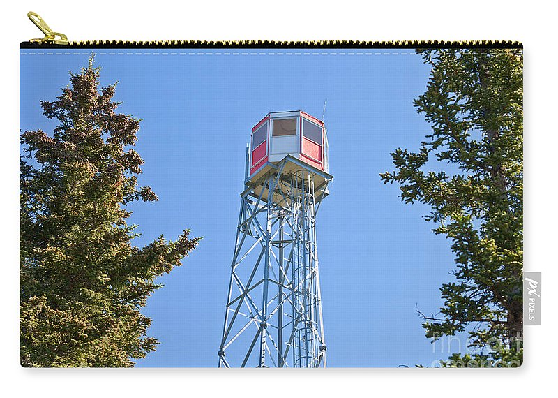 Alberta Carry-all Pouch featuring the photograph Forest Fire Watch Tower Steel Lookout Structure by Stephan Pietzko