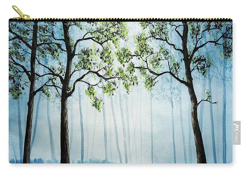Acrylic Paintings Carry-all Pouch featuring the painting Forest Haze by Timothy Hacker