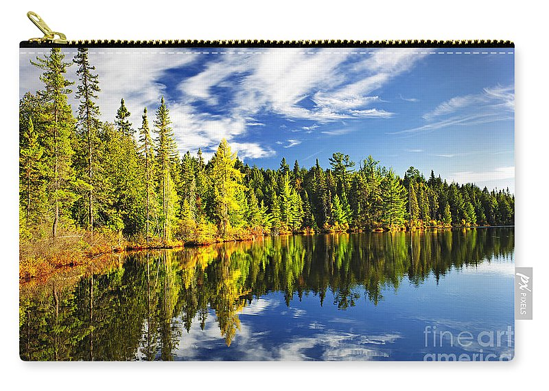 Lake Carry-all Pouch featuring the photograph Forest reflecting in lake by Elena Elisseeva