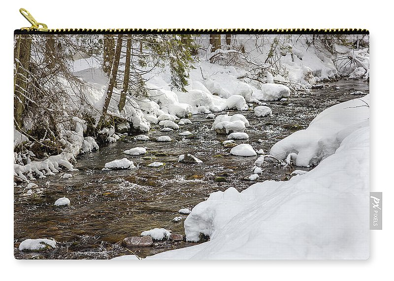 Cold Carry-all Pouch featuring the photograph Winter Forest River by Pati Photography