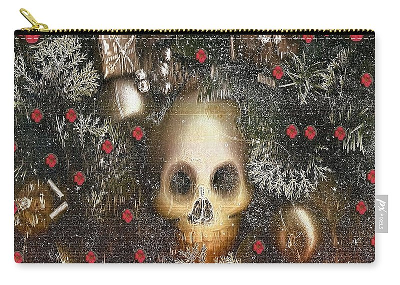 Skullart Carry-all Pouch featuring the mixed media Forest Skull Pop Art by Pepita Selles