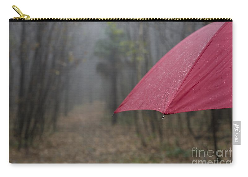 Umbrella Carry-all Pouch featuring the photograph Forest With A Red Umbrella by Mats Silvan