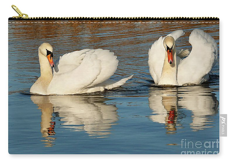 Swans Carry-all Pouch featuring the photograph Forever Together by Susie Peek