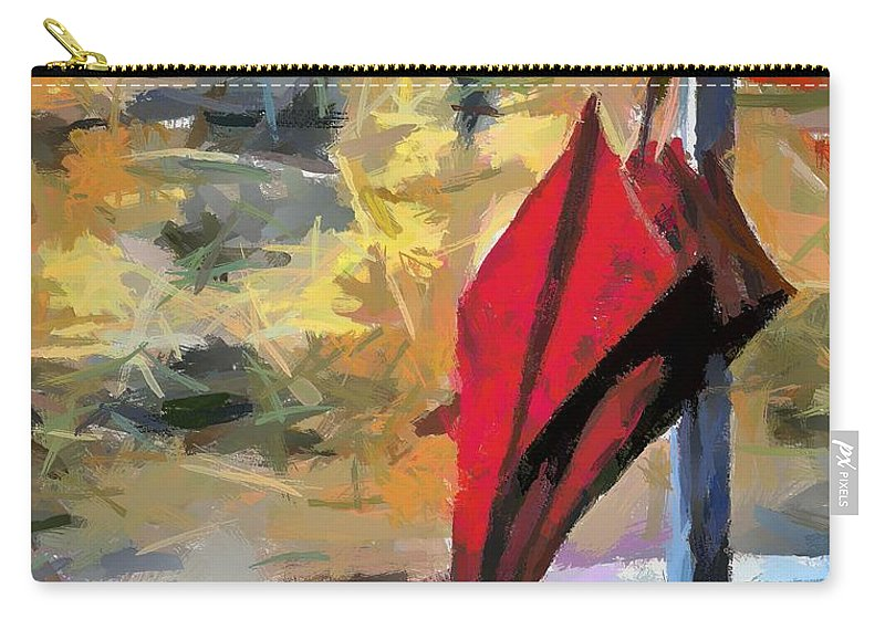Red Umbrella Carry-all Pouch featuring the painting Forgotten by Dragica Micki Fortuna