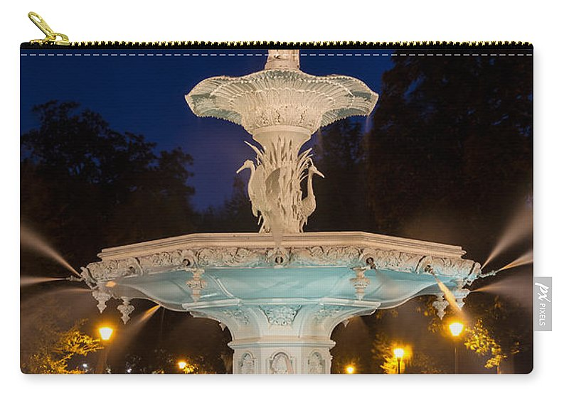 Forsyth Park At Night Carry-all Pouch featuring the photograph Forsyth Park Fountain Savannah Georgia by Dawna Moore Photography