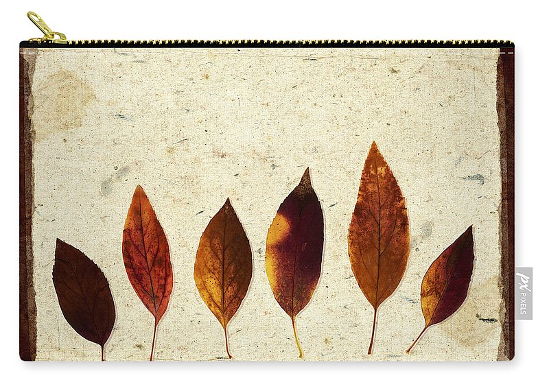 Leaf Carry-all Pouch featuring the photograph Forsythia Leaves In Fall by Carol Leigh