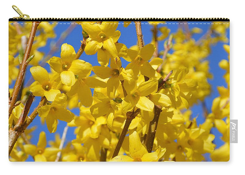 Forsythia Carry-all Pouch featuring the photograph Forsythia On Blue by Meandering Photography
