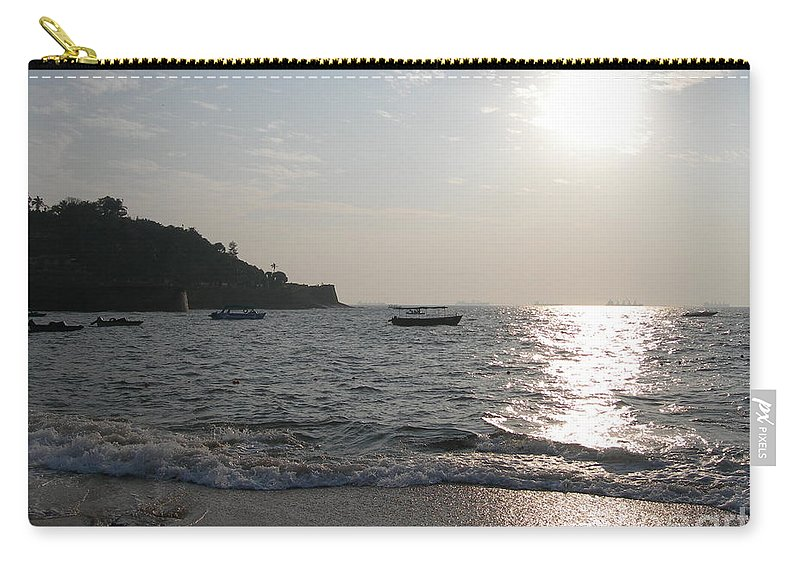 Goa Carry-all Pouch featuring the photograph Fort Aguada Beach by Mini Arora