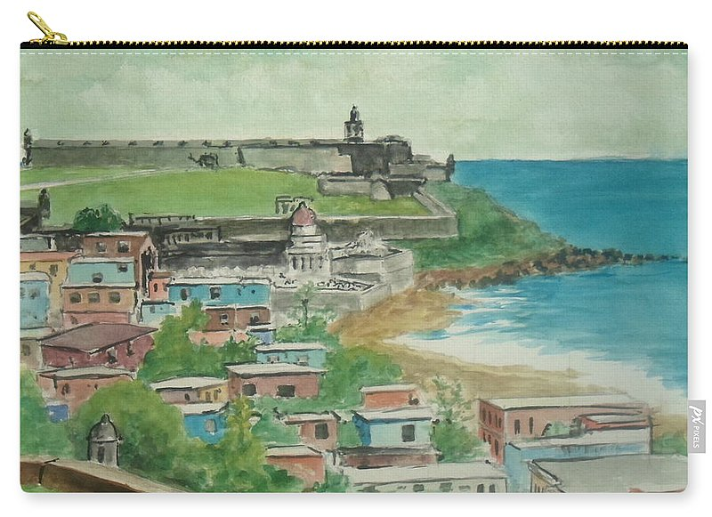 San Juan Puerto Ricoo El Morro La Perla Carry-all Pouch featuring the painting Fort San Felipe Del Morro From Fort San Cristobal Pr by Frank Hunter